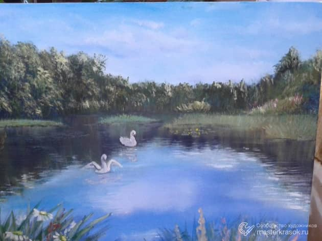 Сельский пруд., художник Лариса Кулакова