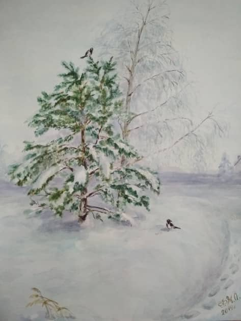Зимушка-зима и сороки, художник Наталия Фарстова