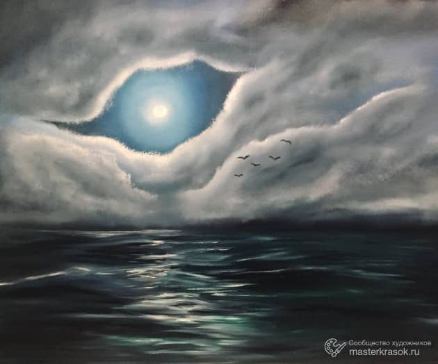 Лунный свет, когда тучи отступают