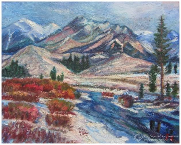 Горная река зимой
