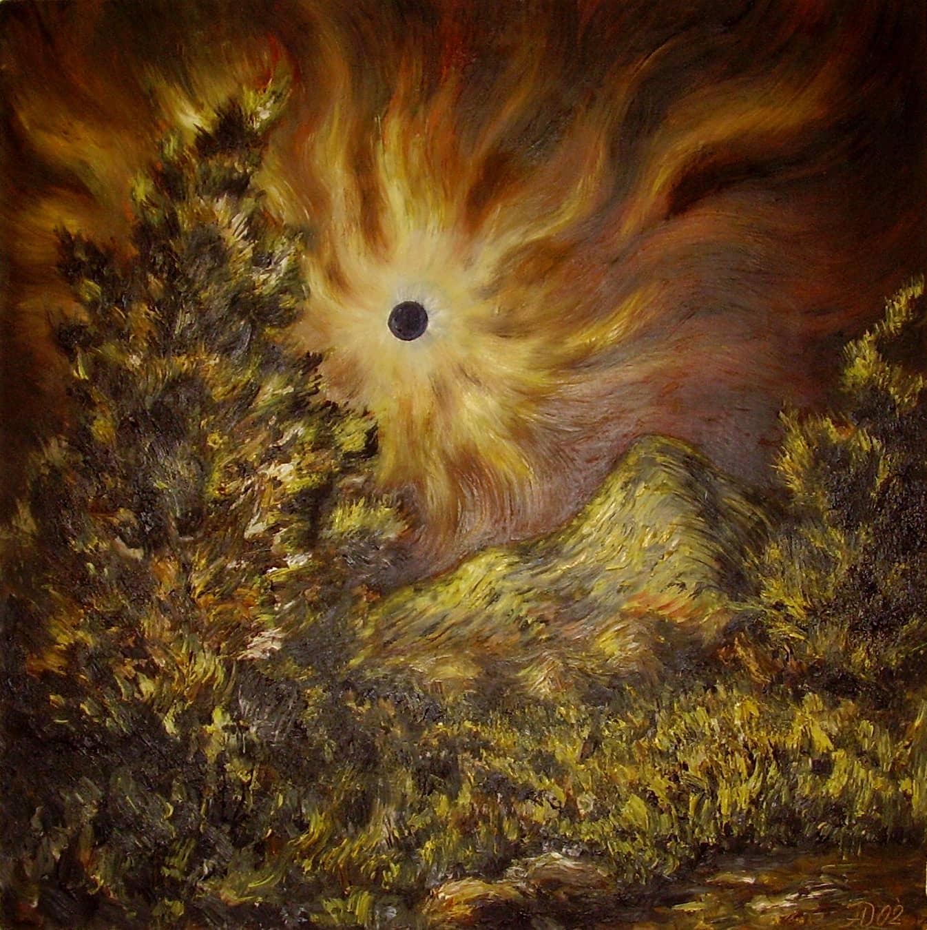 Пейзаж с затмением солнца