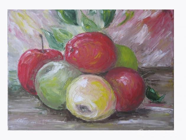 Яблоки. (крагис, масло, мастихин)