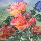Бабочка и розы (1), художник Наталия Фарстова