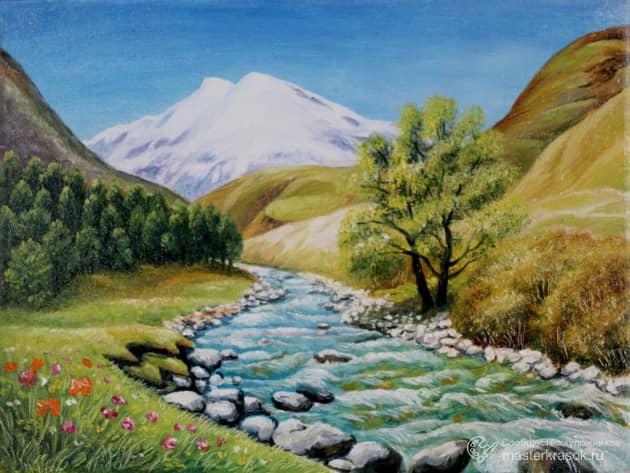 Река и Эльбрус