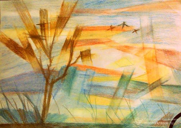 Иллюстрация пейзажа с птицами
