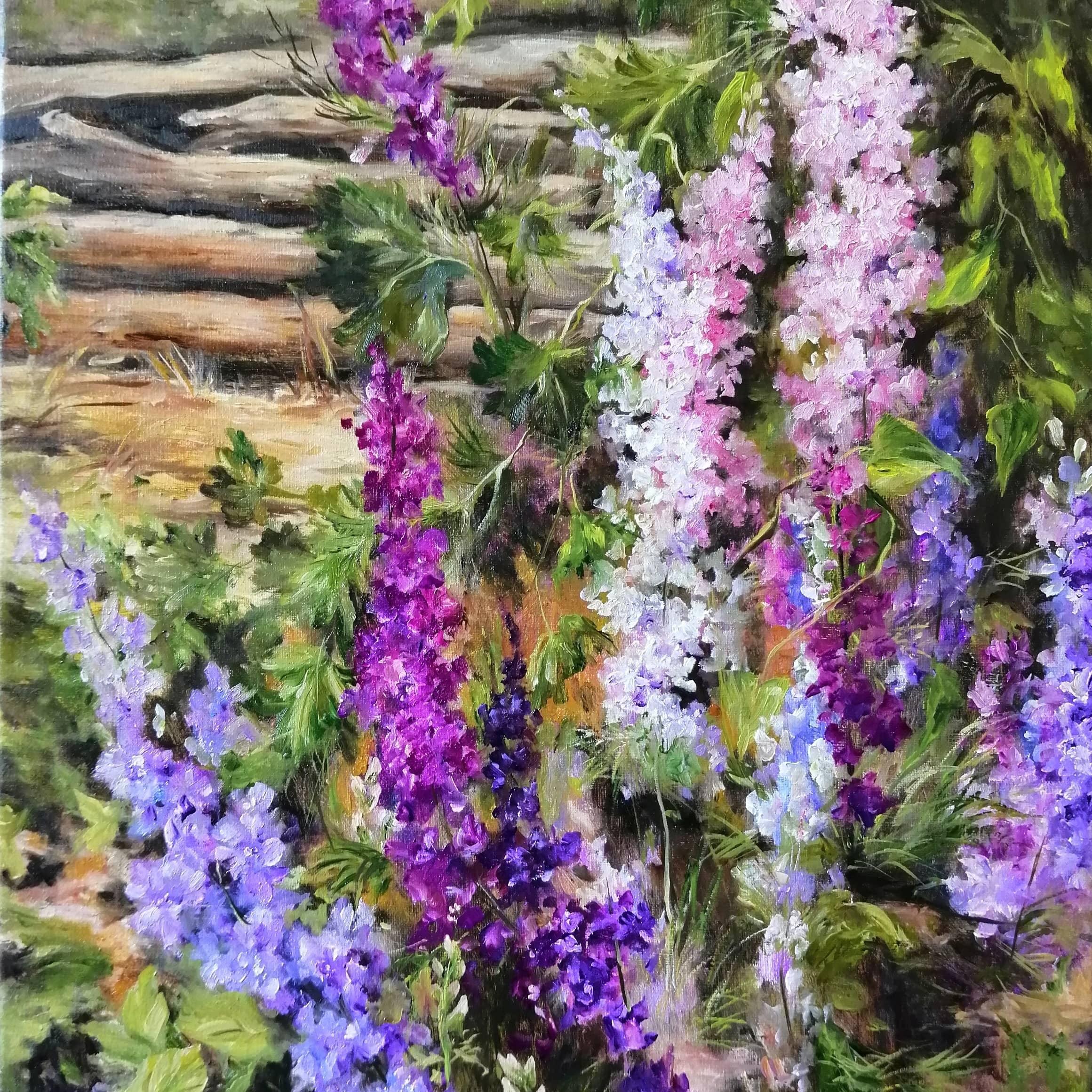 """Картина маслом """"В моем саду"""""""