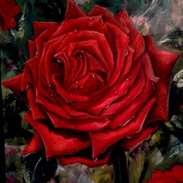 Роза после дождя, художник Лариса Кулакова