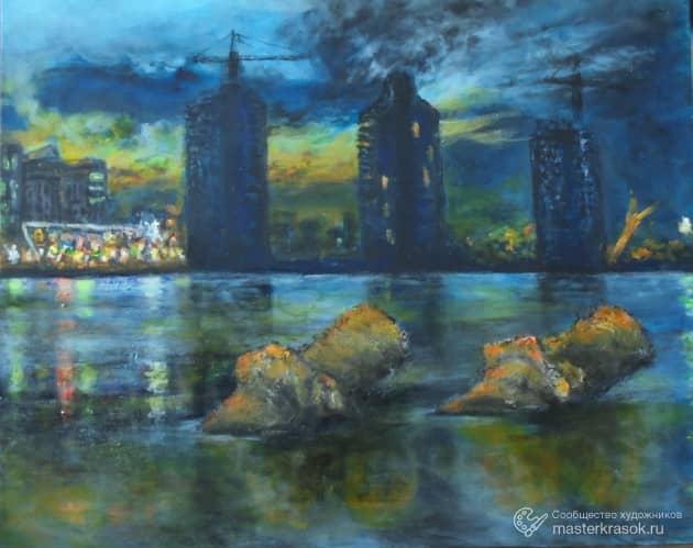 Урбанизация реки_холст_акрил_40х60см_Кожевников_2018 в, художник Алекс Кожевников