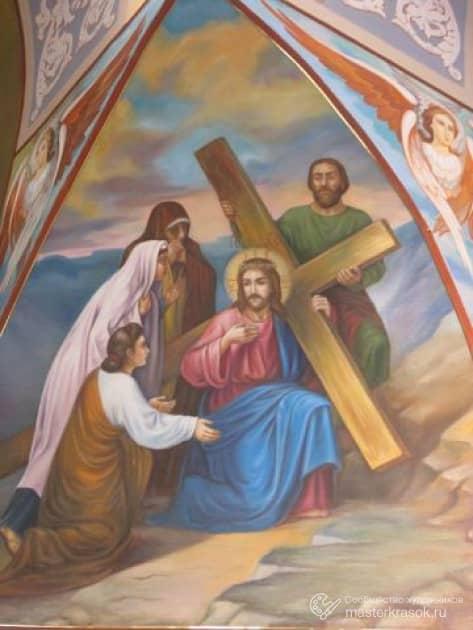 """Библейский сюжет """"несение креста""""."""