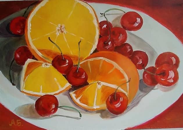 Апельсин и черешня.