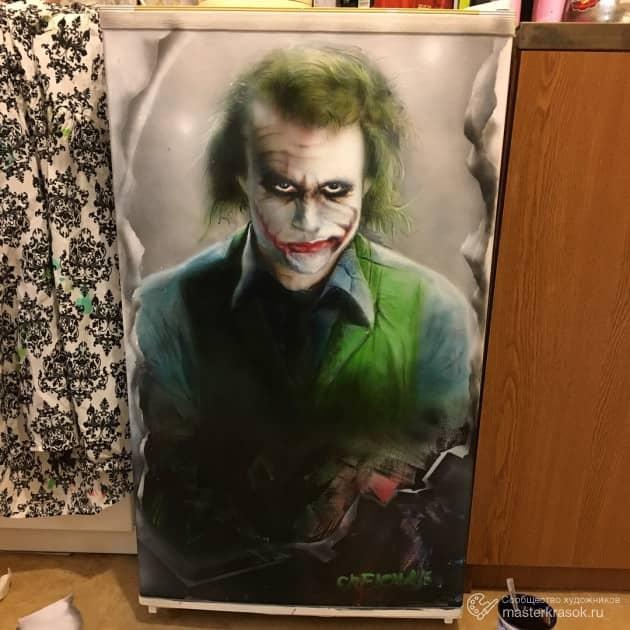 Портрет Джокера на холодильнике, художник Денис Тихонов