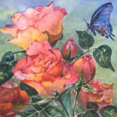 Бабочка и розы, художник Наталия Фарстова