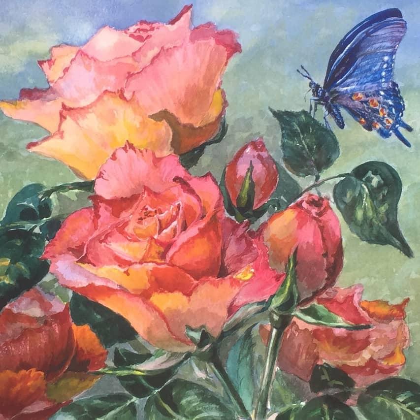 Бабочка и розы