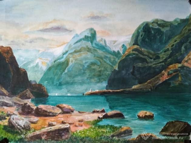 Озеро в горах (Копия картины Саврасова А.К.)