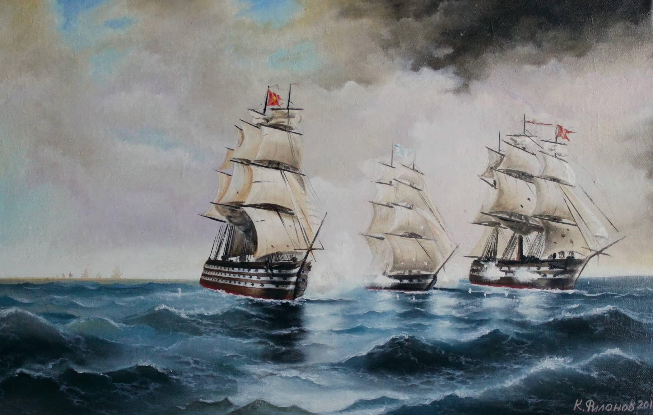 Бриг Меркурий атакованный 2 турецкими кораблями