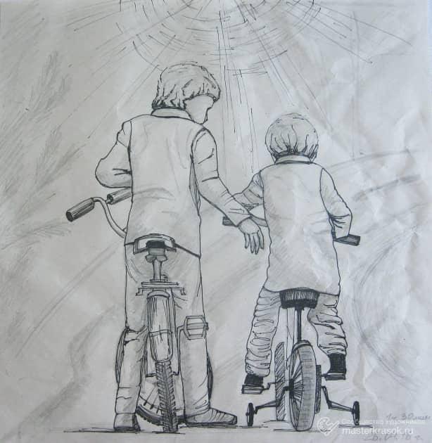 Рисунок. (карандаш+линер, крафт бумага)