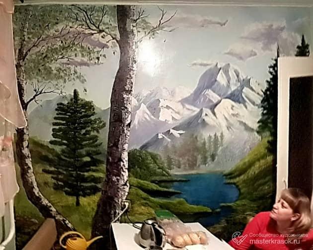 Роспись стены на кухне, художник Лариса Кулакова