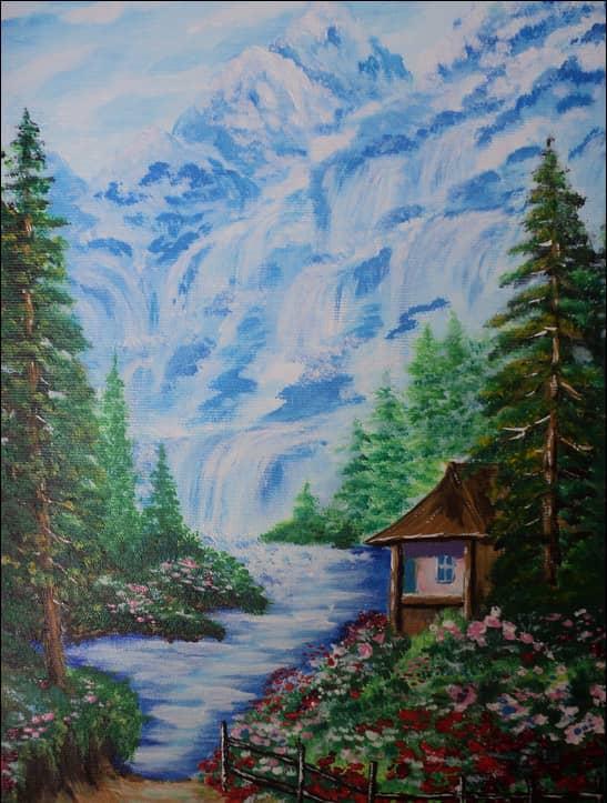 Избушка у горы Водопадов. Карпаты. Середина лета.