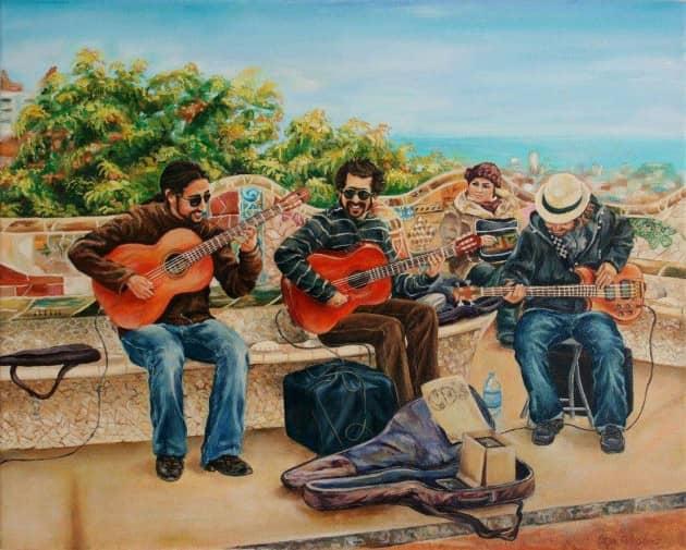 Музыканты в парке Гуэль