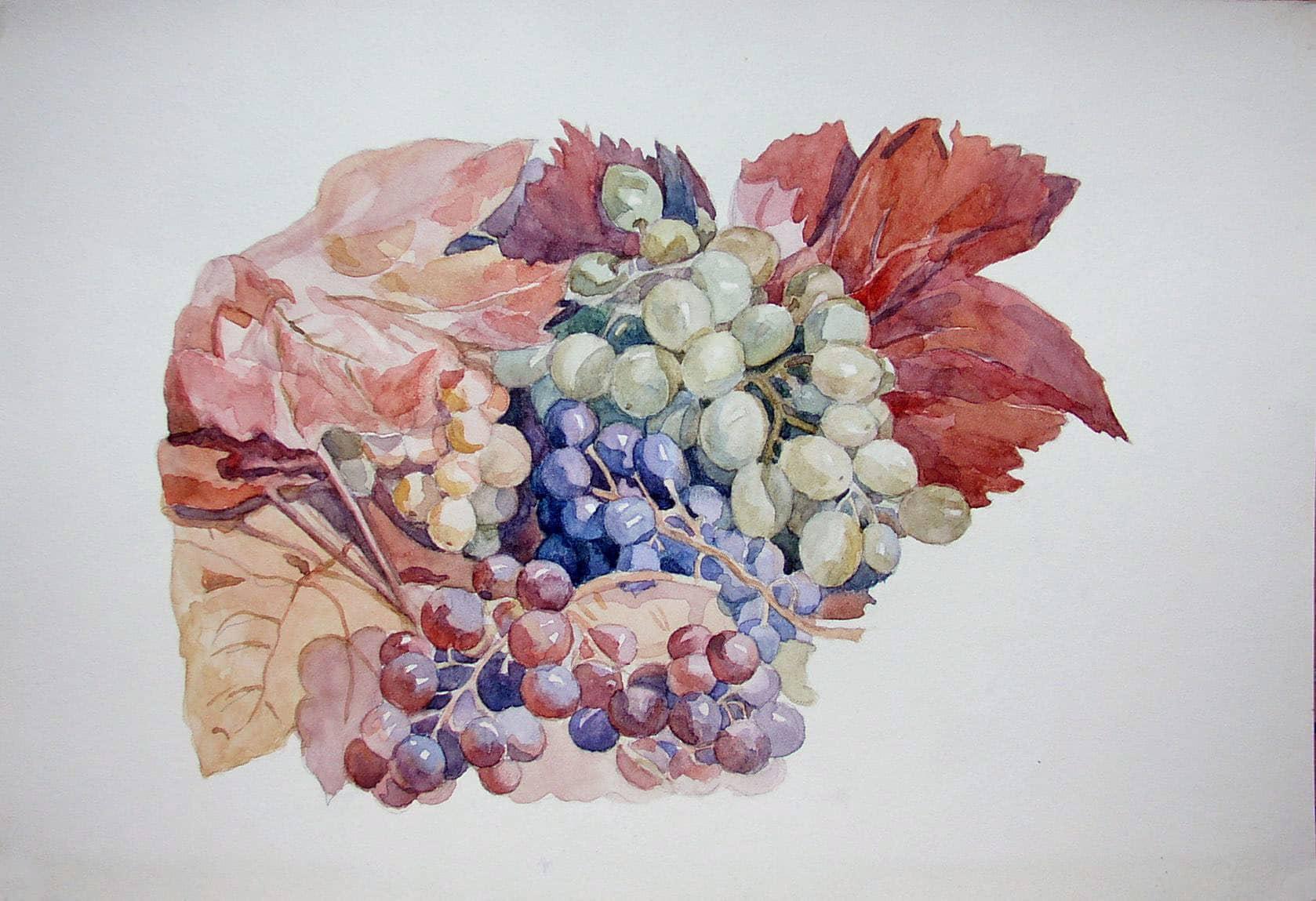 """Копия В. А. Лепикаш """"Кисть винограда с листьями"""""""