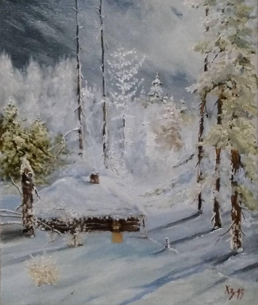 Зимний лес. Хижина
