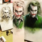 Портрет Джокера на холодильнике (2), художник Денис Тихонов