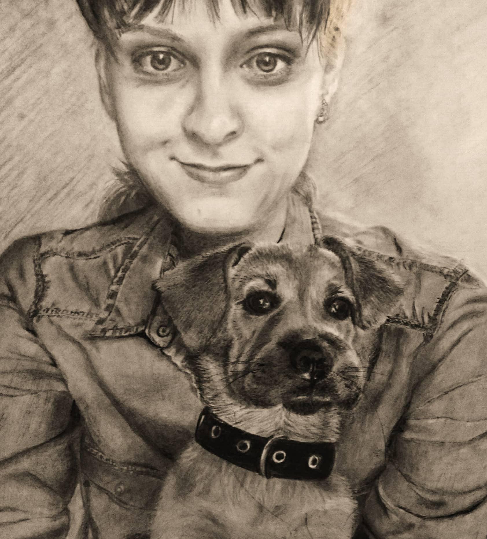 Полина со щенком