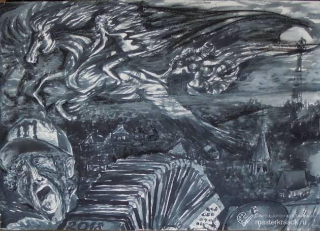 """Иллюстр. к расск. Шукшина """"Думы"""", художник Алекс Кожевников"""