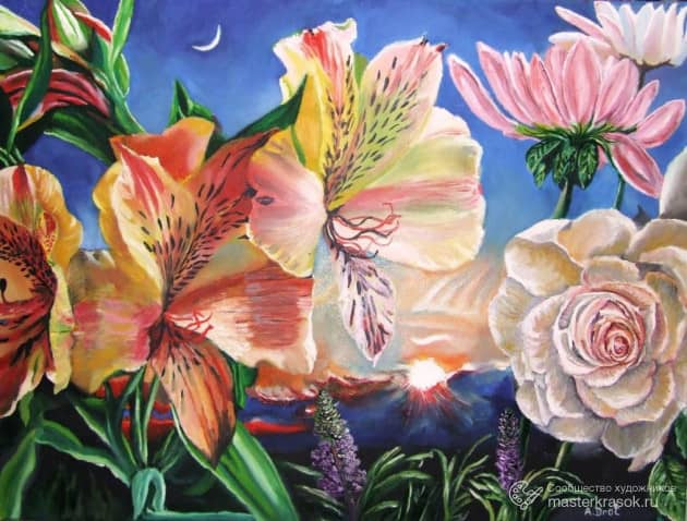 Цветы, художник Александр Дрот