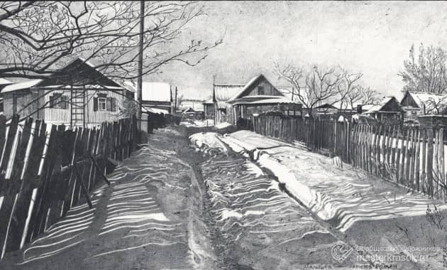 Зима на улице, художник Роман Малышев Малышев
