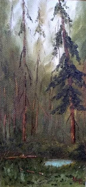 В лесной чаще, художник Сергей Ходоренко-Затонский