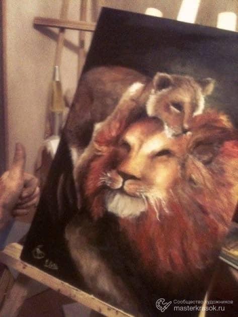 Лев и львенок.