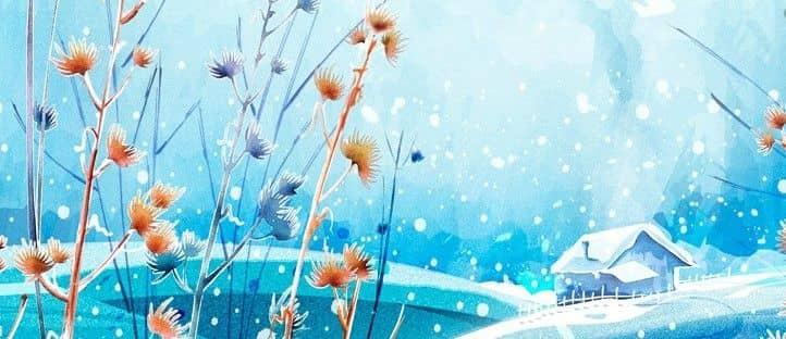Как нарисовать падающий снег акварелью или тушью