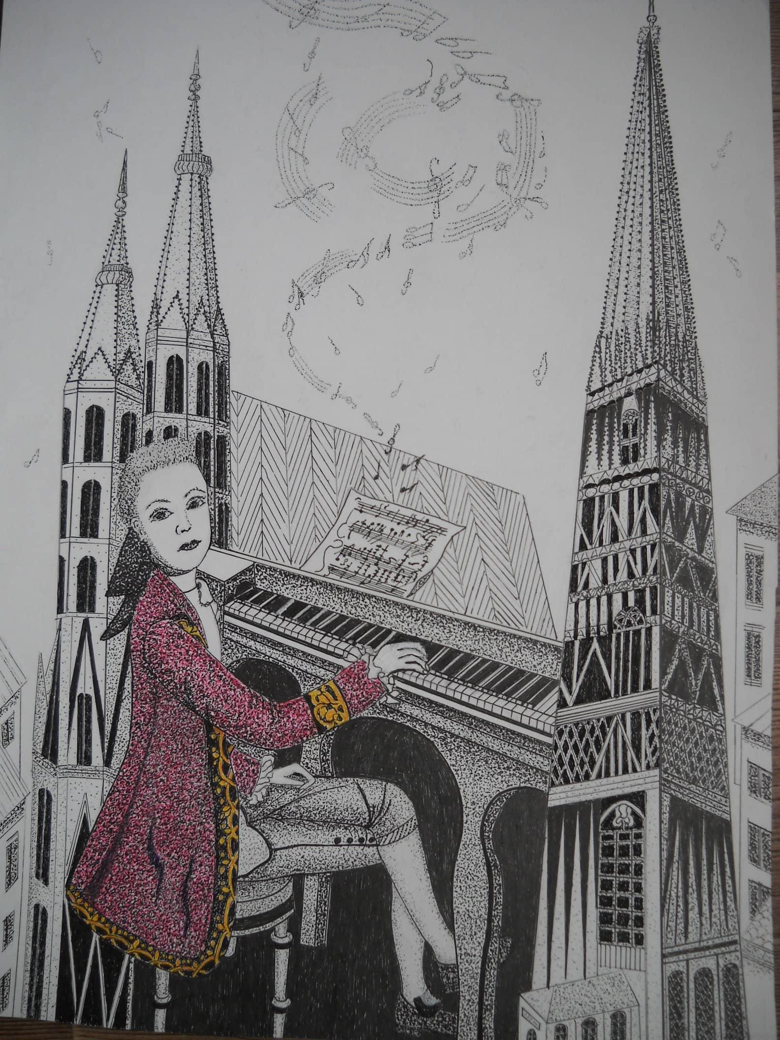 Юный Моцарт в Вене с видом на собор Св. Стефана