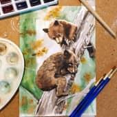 Медвежата в осеннем лесу (1), художник Виктория