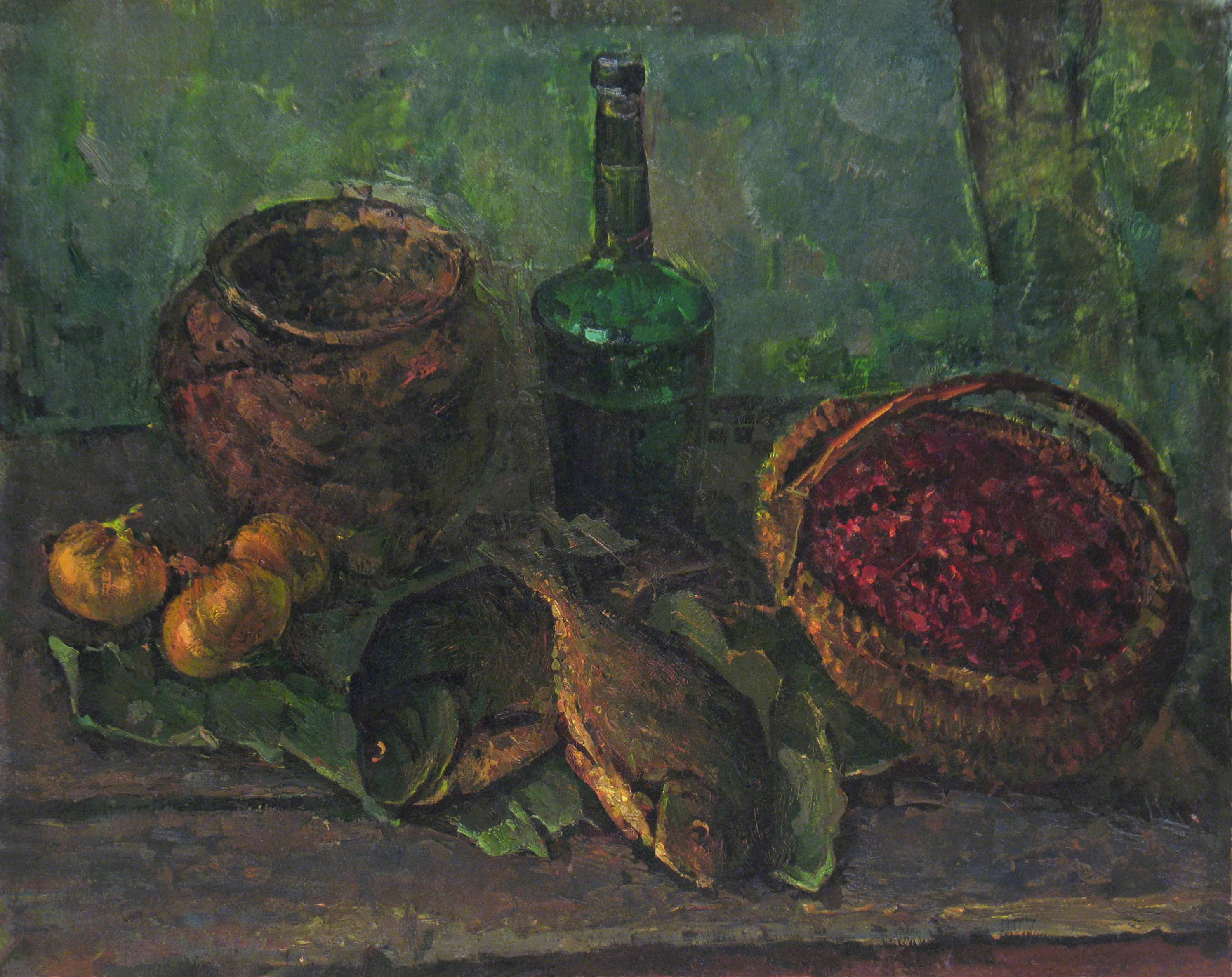 Натюрморт с зелёной бутылкой
