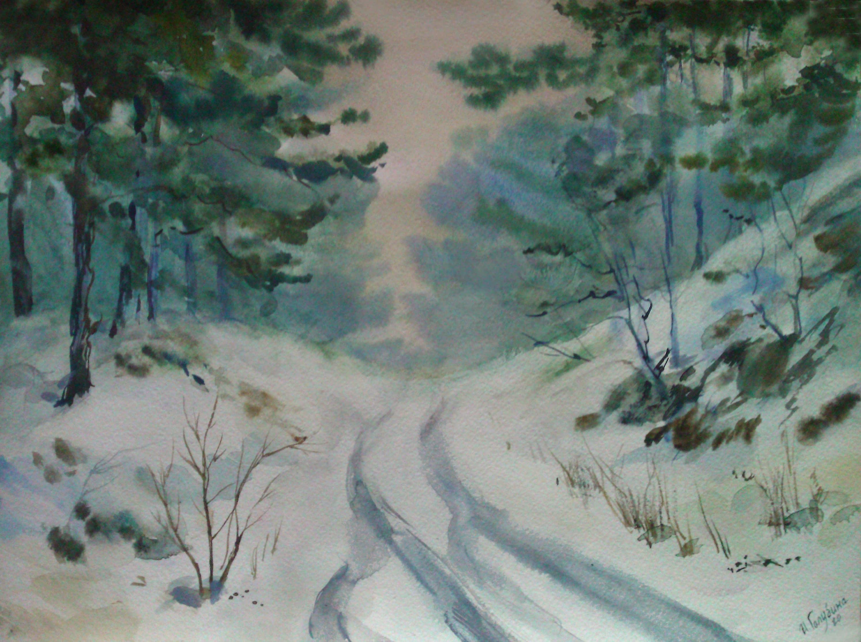 Оттепель.Зимняя дорога