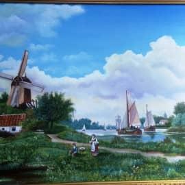 Голландский пейзаж с мельницей (по раб.мал.гол.)