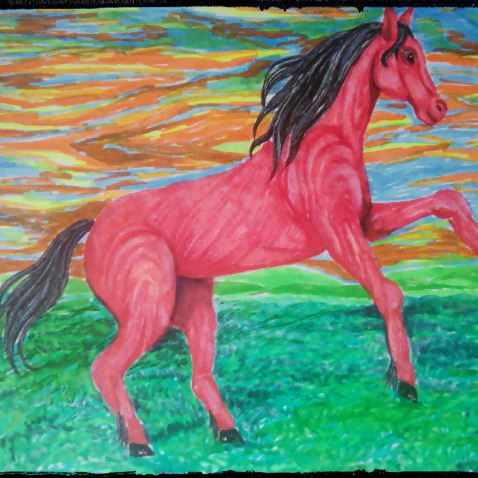 Красный конь на рассвет