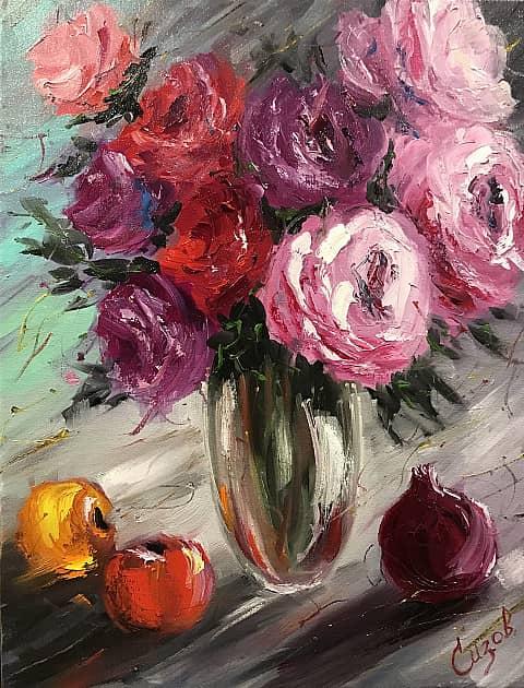 Розы с фруктами