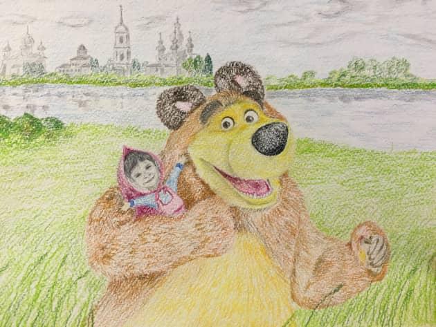 """Соня и Медведь (Перерисовка из мультфильма """"Маша и Медведь"""")"""