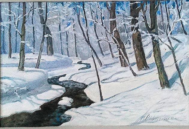 Зимний ручей в лесу