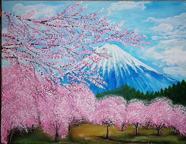 цверение сакуры у горы Фудзияма