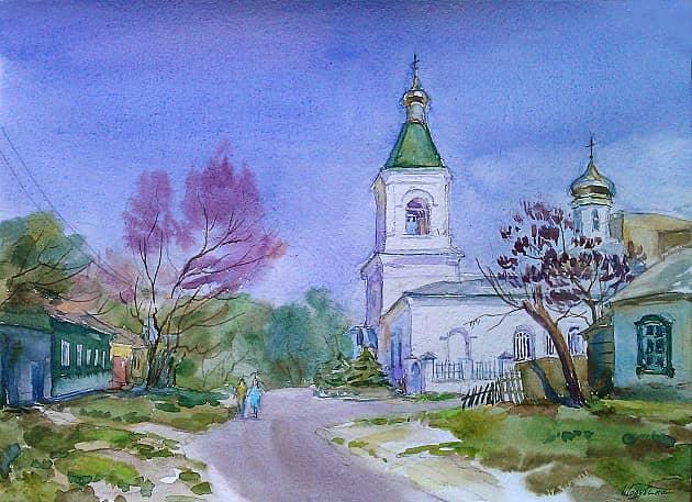 Весенний день. Вид на колокольню Спасского храма.