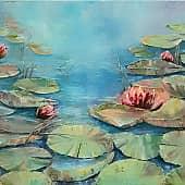 Водяные лилии, художник Лариса Яркулова