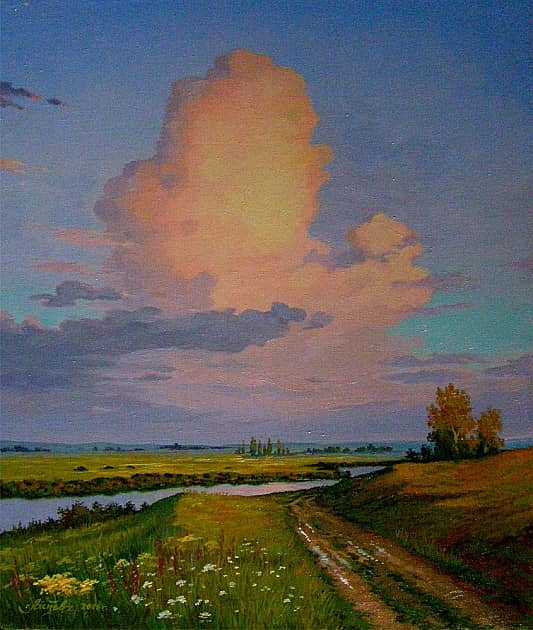 Пейзаж с розовым облаком
