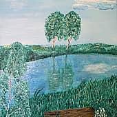 У реки, художник Елена