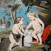 По мотивам Рубенса Петера Пауля Младенец Христос и Иоанн Креститель, художник Елена