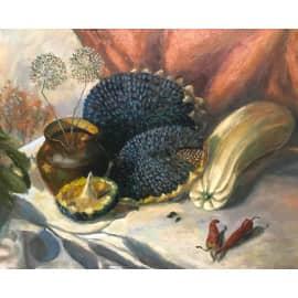 Натюрморт с подсолнухами и тенью от лимона