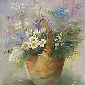 Цветы в корзине, художник Ольга Шибанова